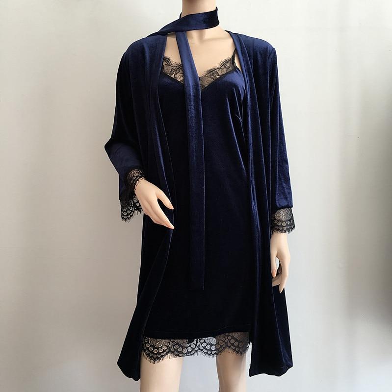 ENGAYI New Summer Women Nightgown Night Dress Silk Satin Sexy Robe Bathrobe Set Nightwear Lace Nightdress Night Gown N0017