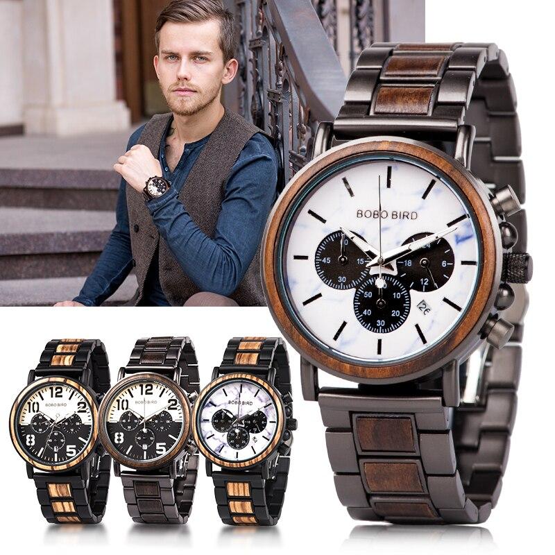 BOBO BIRD Relogio Masculino Mens Watches Military Chronography Wristwatches Retro Wristwatch Relojes Hombre|Quartz Watches|Watches - title=