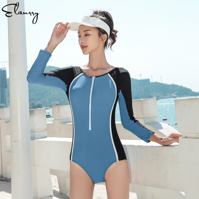 Long Sleeves Women Sport Swimsuits 2019 Newest One Piece Ladies Surfing Suits Backless Beach Wear Bodysuits Vintage Bathing Suit