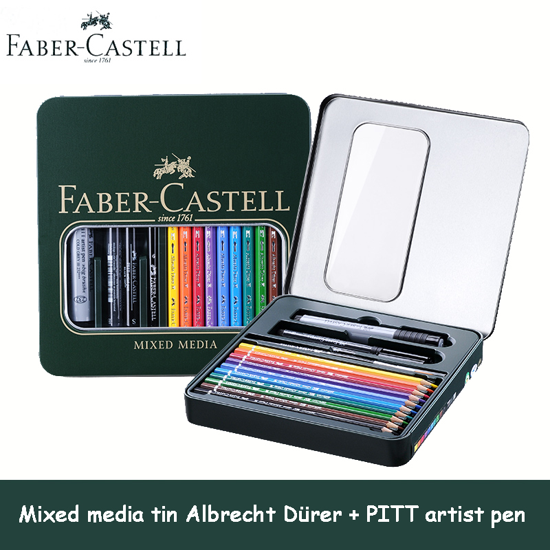 Faber Castell Mixed Media Tin Albrecht DuRer 10 Water Colored  Drawing Pencils + PITT Artist Pen  For Painting And Sketch