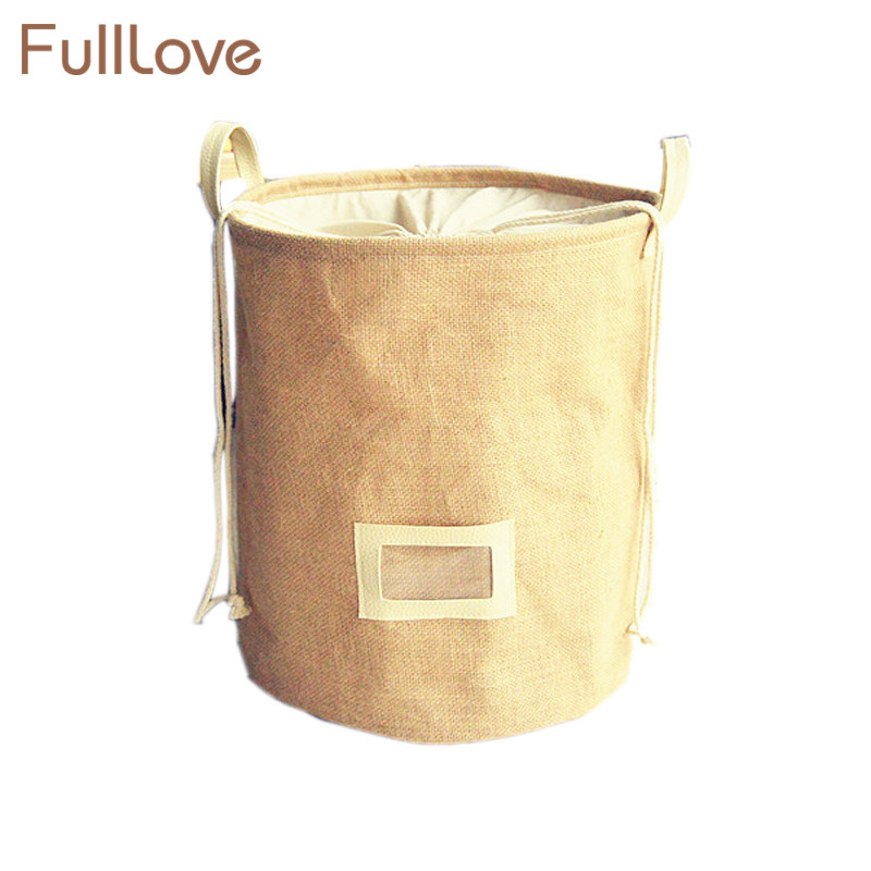FullLove Folding S L Drawstring Storage Basket Jute Color Clothes Toys Stationery Debris Organizer Home Storage & Organization