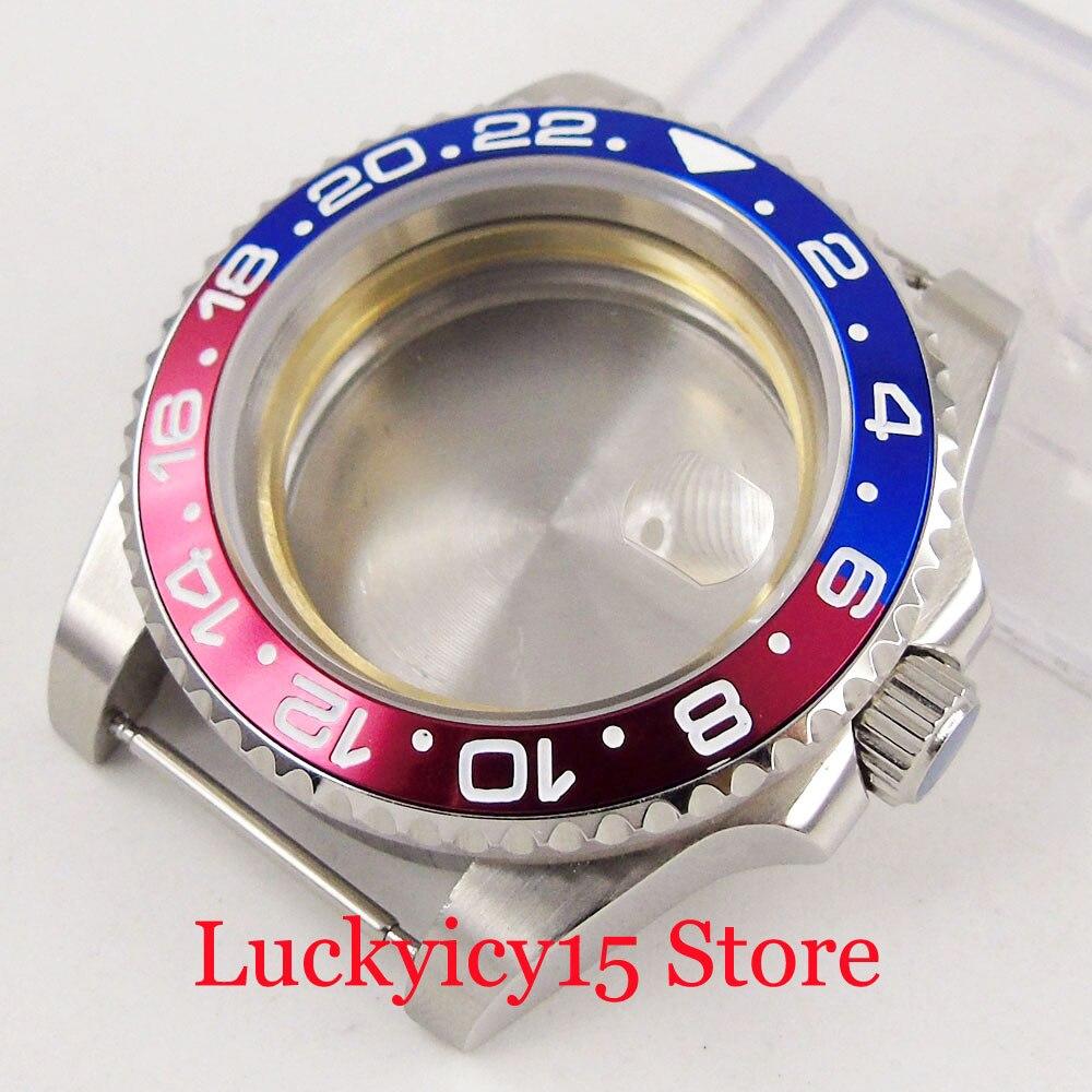 Caixa do Relógio de Aço Inoxidável com Liga Relógio de Vidro de Safira Miyota Automáticos Movimento 40mm Rotativa Moldura Fit Eta2836
