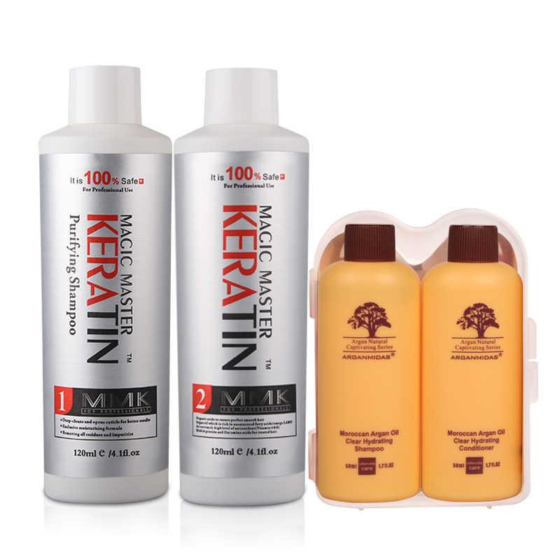 Queratina de 120ml MMK sin formalina, queratina recubierta + champú purificador + juego de cuidado de cabello de viaje