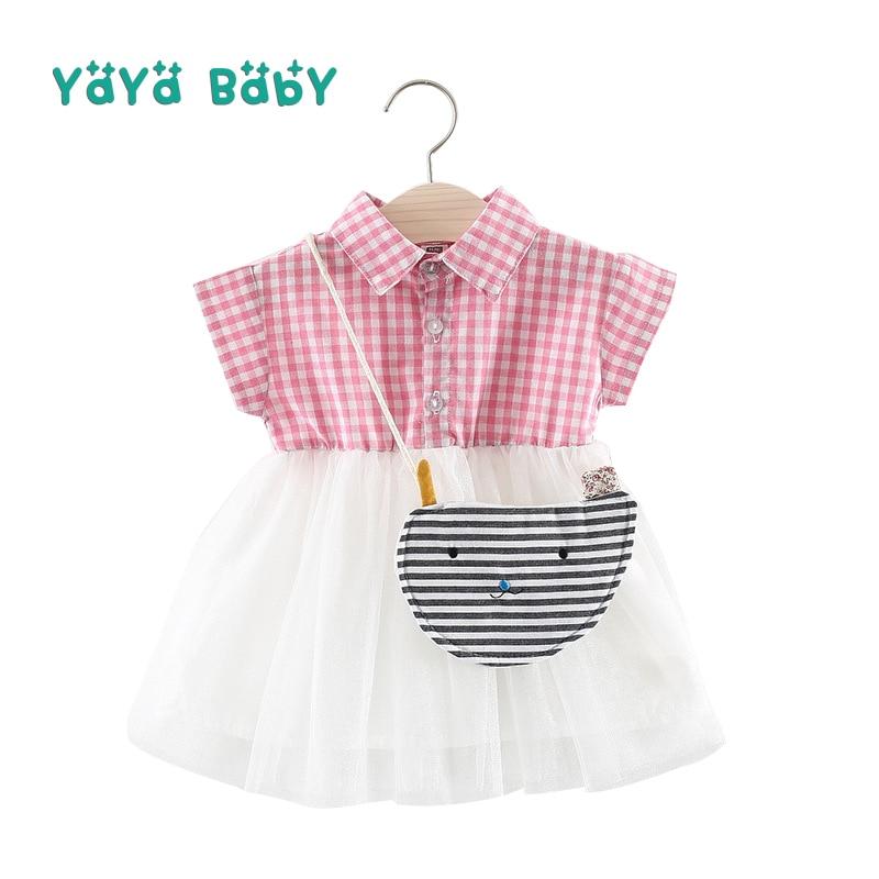 Casual Baby Girls Dress 2018 New Summer Plaid Newborn Birthday Clothing Turn-down Collar Mesh Infant Dresses Withe Bag