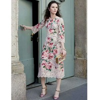2018 Spring Summer New Amazing Rose Embroidered Lace Dress Women S Dress 180110LU01