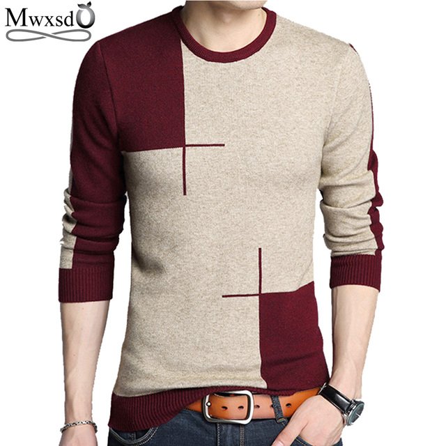 Mwxsd brand Men casual pullover sweater autumn winter cotton Cashmere sweater pull homme male jumpers knitted sweaters