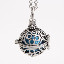 12pcs/lot Classic Flower Pattern Metal Hollow Chime Box Cage Musical Sound Ball Pendant Pregnant Necklaces For Mother HCPN19