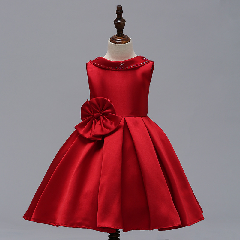 Smart A-Line Satin Beaded Flower Girls Dresses 2018 Backless Bow Pageant Dresses For Girls Bow Kids Evening Gowns First