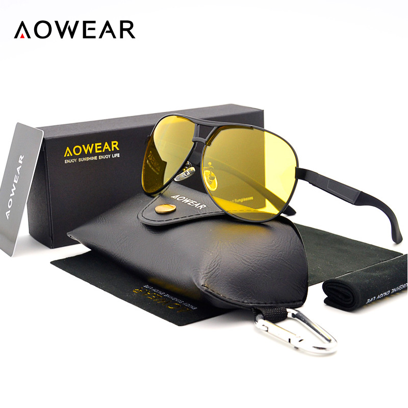 AOWEAR Night Vision Driver Glasses Uomo UV400 Driving Yellow Occhiali da sole Yellow Lens Night Sunglass Polarized Oculos gafas de sol