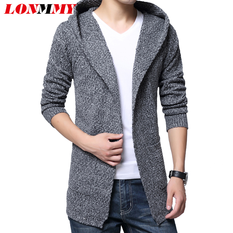 LONMMY Hooded Sweater men Coarse wool Knitted cardigan men Velvet ...