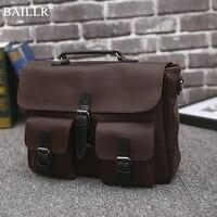 New Vintage PU Leather Men S Briefcase Laptop Shoulder Bag Business Bags Vintage Handmade Briefcase Men