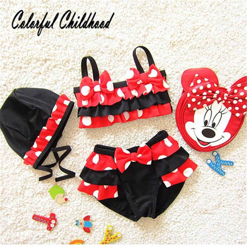 2018 Summer Sunny Style Newly Infant Child Skirt Cute Cartoon Baby Girl Bikini Swimwear 3pcs/set With Dot Stitching