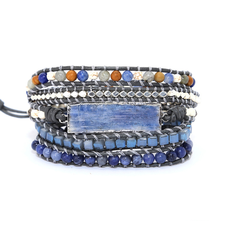Goldenbleu stone Leather Bracelet Exquisite Mix Stones Women Fashion 5 Layers Wrap Bracelet Boho Bracelet Jewelry Dropshipping|Wrap Bracelets|   - AliExpress