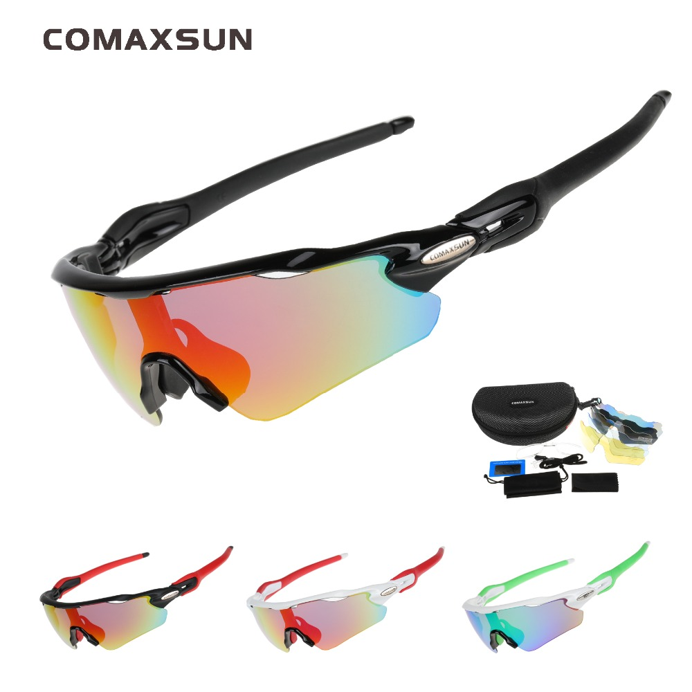 COMAXSUN Professional Polarized Cycling Glasses Bike Goggles Fishing Outdoor Sports Sunglasses UV 400 5 Lens TR90 STS813