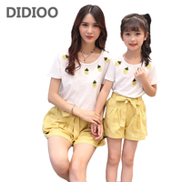 Mom Daughter Pineapple Clothing Sets Girls Women Cotton Tops Shorts Suits 3 5 7 9 12