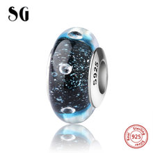 SG silver 925 sparkling Murano glass beads diy craft charms with water droplets fit authentic pandora bracelets jewelry making(China)