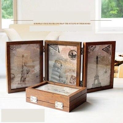 Tri-fold creative combinaison photo cadre 6 pouce 7 pouce pliant conjoint rétro double-face photo cadre photo studio verre fram