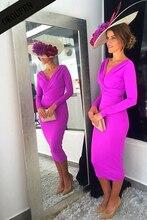Платья жениха для матери невесты на свадьбу 2019, кружевное платье с длинными рукавами и v образным вырезом, королевское синее атласное платье с открытой спиной, vestido de madrinha farsali