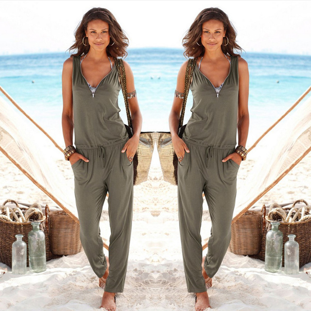 Coffee Jumpsuits For Women 2017 Loose Casual Going Out Army Jumpsuit