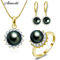 AINUOSHI 10K Solid Yellow Gold Jewelry Set Natural Black Tahiti Pearl Pendant Ring Drop Earring Luxury Women Wedding Jewelry Set