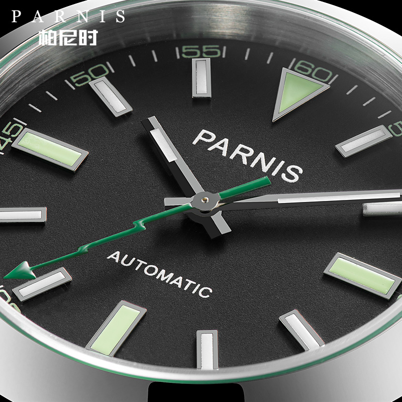 Parnis 40mm Mechanical Automatic Men Watches Sapphire Crystal Casual Green Leather Strap Miyota 8215 Men's Watch With Box Gift