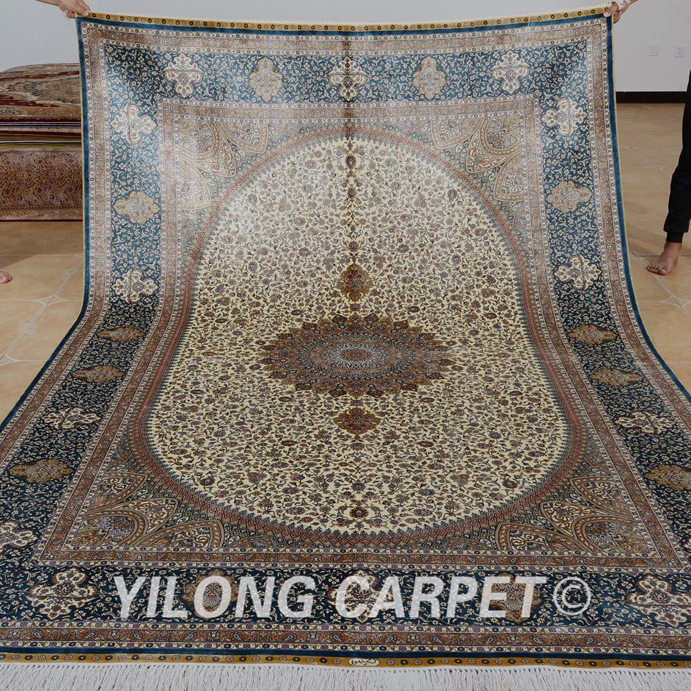 Yilong 6.56'x9.84 'Vantage handgefertigter Seidenteppich beige - Haustextilien