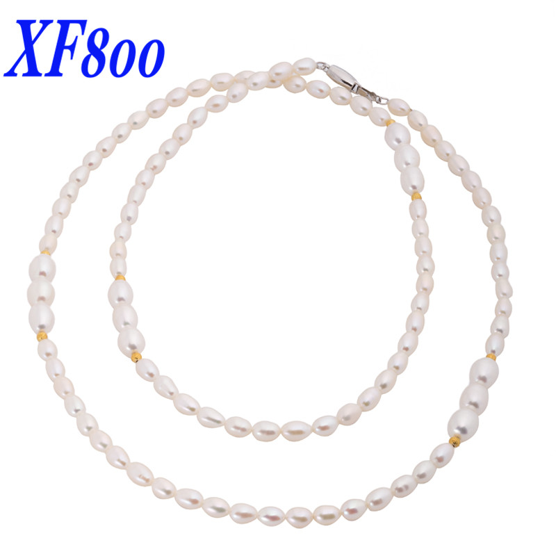 XF800 Natural frehswater pearl necklace, Simple&Classical 85CM long Sweaters chain best gift for women X1216 a suit of simple faux pearl twisted singapore chain necklace and earrings for women