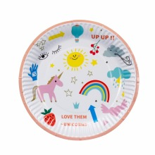 10pcs 7inch Lovely Unicorn Paper Plates Birthday Wedding Party Supplies Decoration Cake Dish Disposable Baby Shower Favors(China)