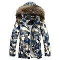 Зимний камуфляжный мужской пуховик с теплым меховым капюшоном.