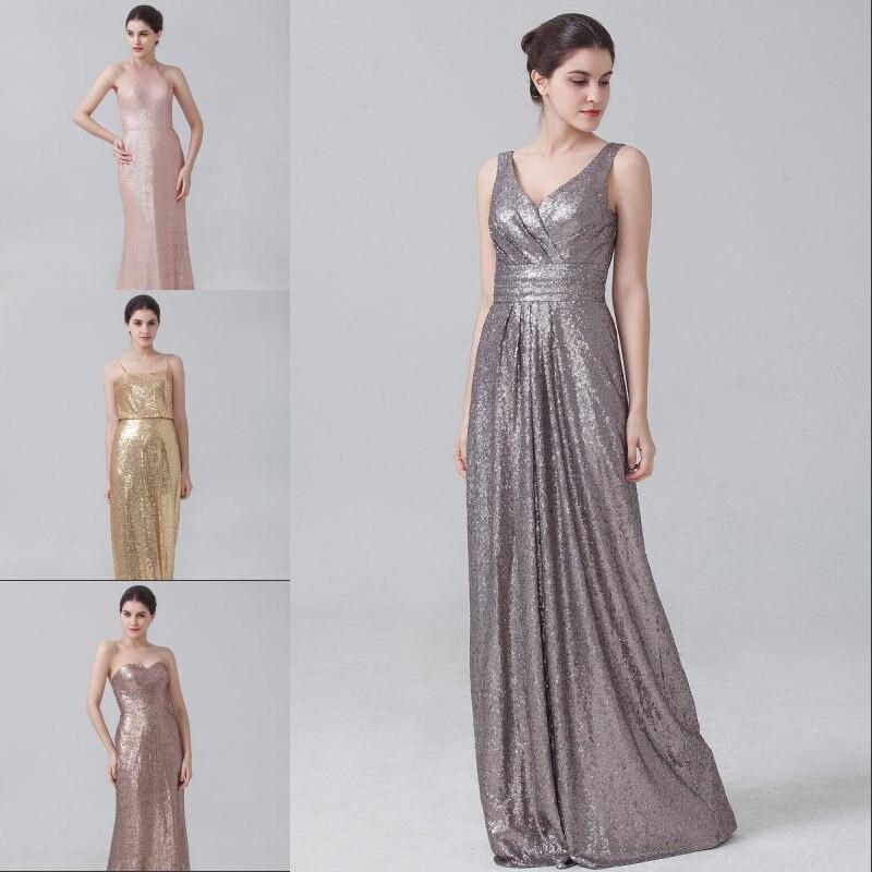 10956 Vestido De Dama De Honor Brillante Vestido De Fiesta De 4 Estilos Vestidos De Fiesta De Boda De Oro Champán Rosa Oro Lentejuelas Vestido De