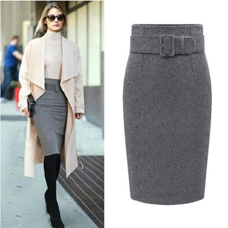 Neophil 2019 winter Gray Thick Wool Midi Pencil Skirts Plus Size Women Casual Slim High Waist Belt Office Work Wear Saias S1205