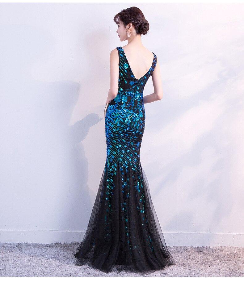 Fashion Shining Sequins Polyester Slim Mermaid Long Evening Party Dress deep V patchwork Elegant Floor length