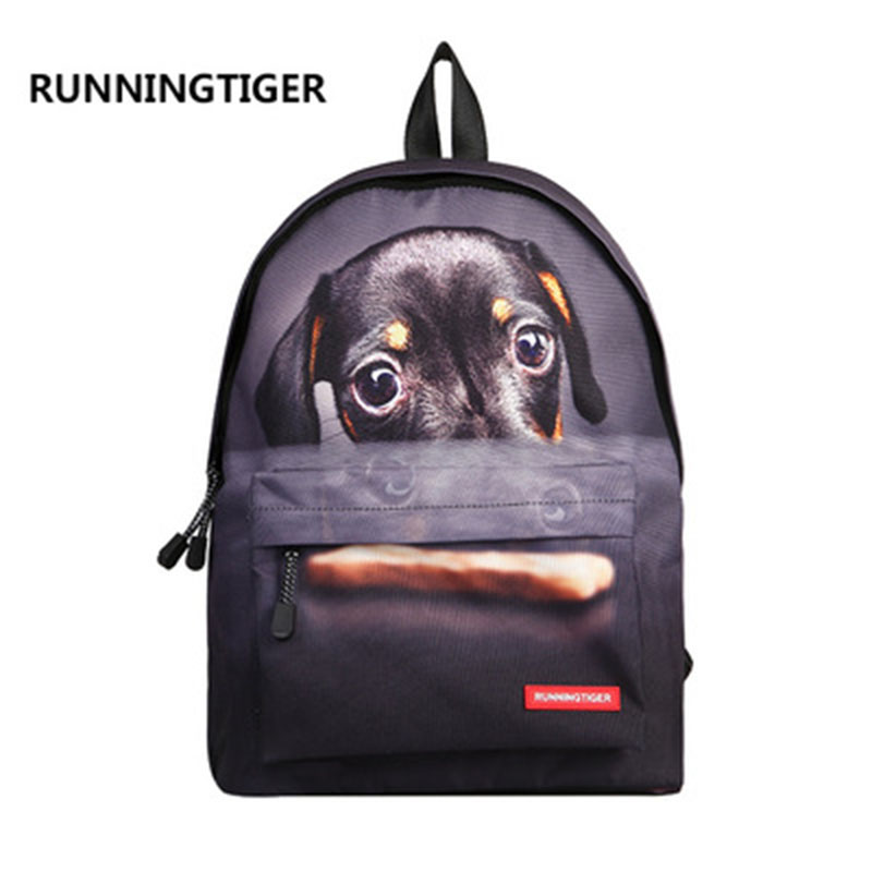 2018 New Style 3D Colorful Printing Canvas Cool Dog Animals Teenager Backpacks School Backbags For Children Travel Laptop Bags