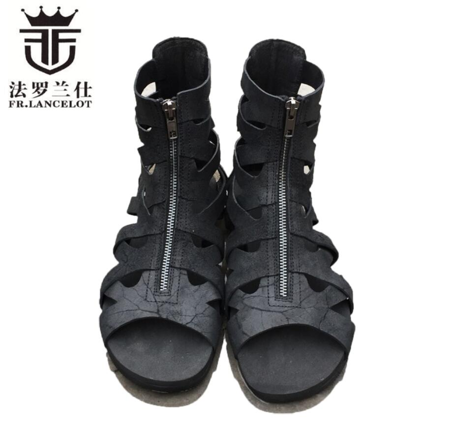 FR.LANCELOT new 2018 men gladiator sandals flat heel summer shoes real leather cuts out sandals front zip causal flats