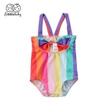 25d6012ab7fe1 Children Girls Bikini 2018 New Kids Infant Baby Girls Rainbow Striped  Swimsuit Bowknot Swimwear Monokini Bathing