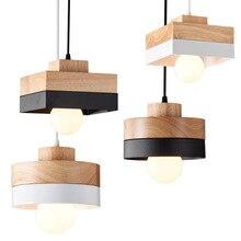 Indoor Oak Wood Pendant Lamp Suspension Reataurant Store Nordic Light Hanging Black LED Home Decor