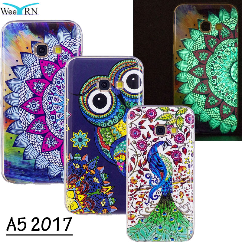 Galleria fotografica Flowers Owl Luminous Silicone Case for Samsung Galaxy A5 2017 A520 TPU Cover Glowing in Dark Lighting Case for Samsung A5 2017