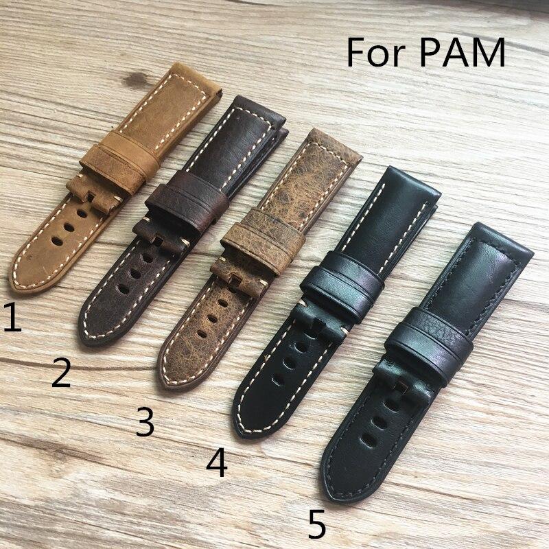 S TJP 24mm 26mm marrón negro reemplazar PAM PAM111 Vintage Italia becerro cuero reloj bandas Correa PAM441 44mm caso con la palabra