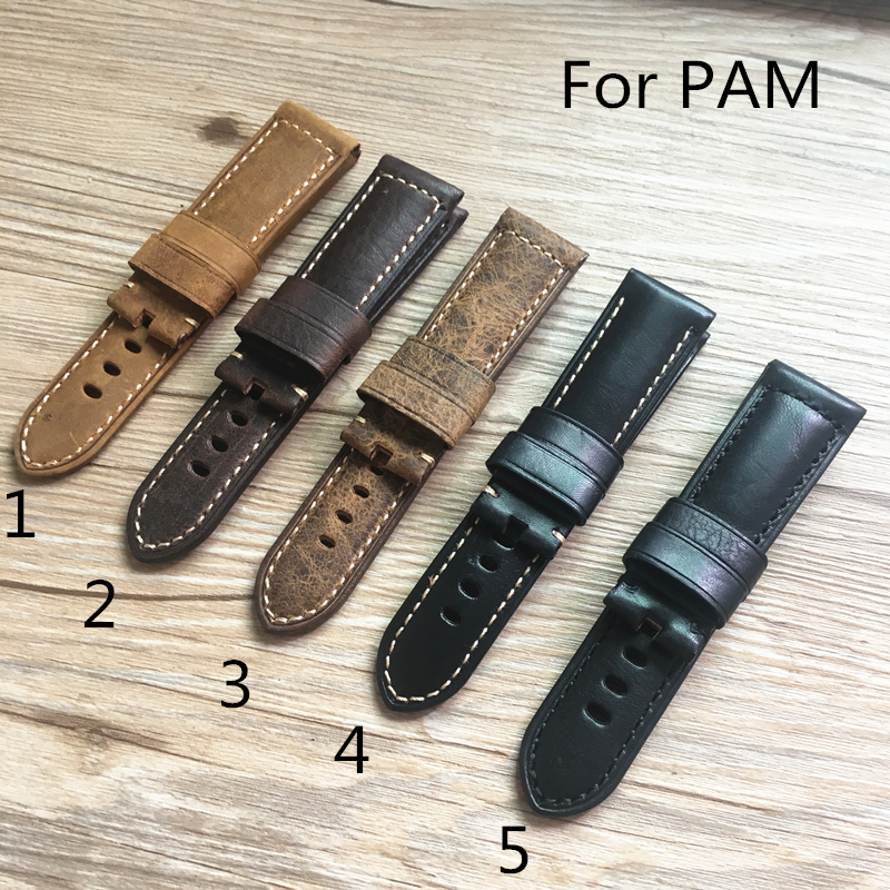 TJP 24mm 26mm Brown Black Replace PAM PAM111 Vintage Italy Calf Leather Watch bands Strap PAM441 44mm Case With Word