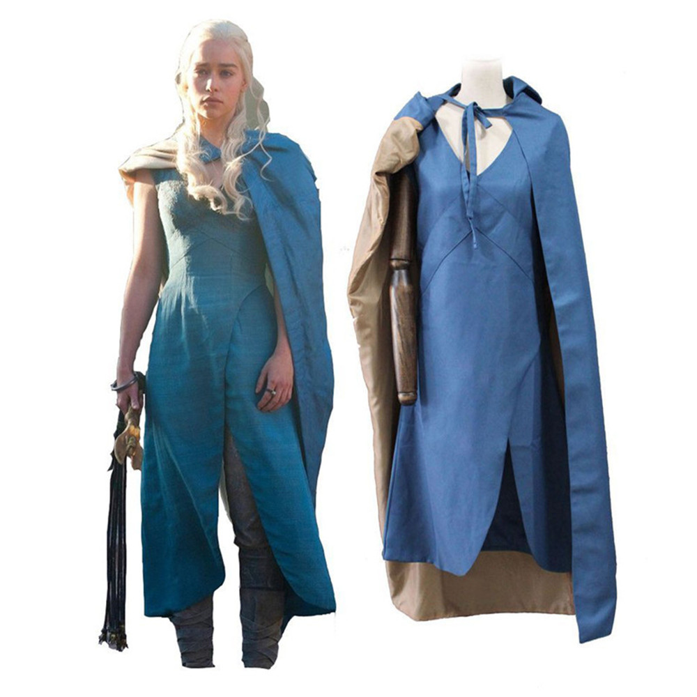 Game of Thrones Daenerys Targaryen cosplay party Dress women Halloween Carnival Party Costume blue Dress Cloak full set