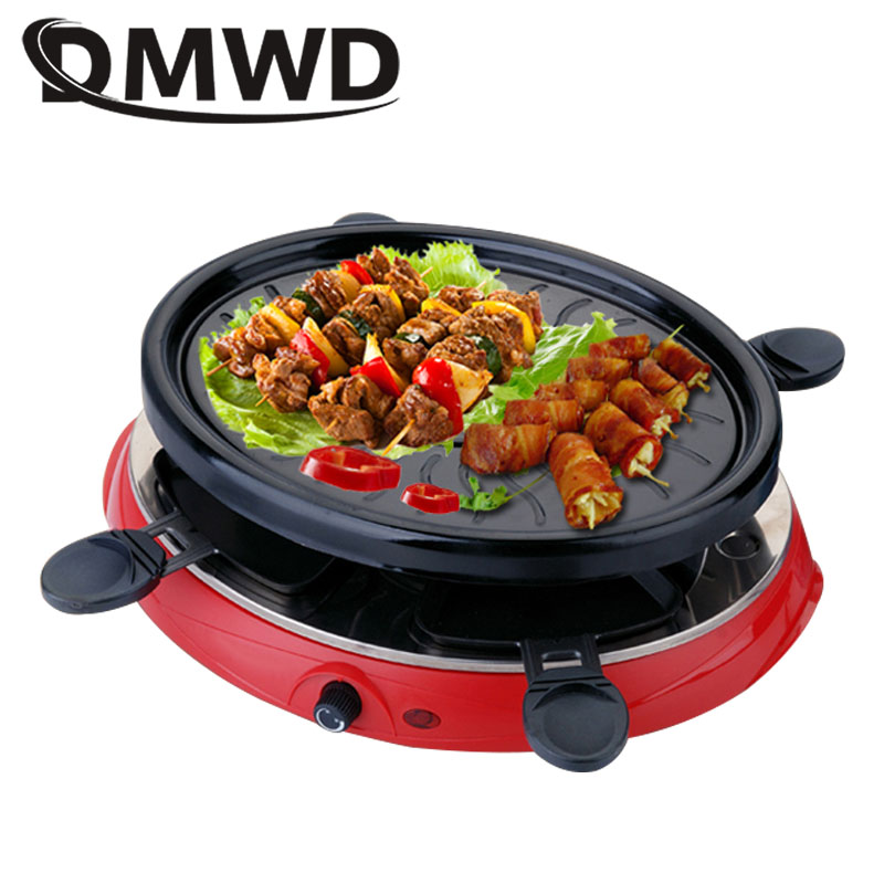 DMWD Household Electric Raclette Grill Smokeless Griddle Non-Stick BBQ Pan Bakeware Skewer Outdoor Barbecue Machine EU Plug