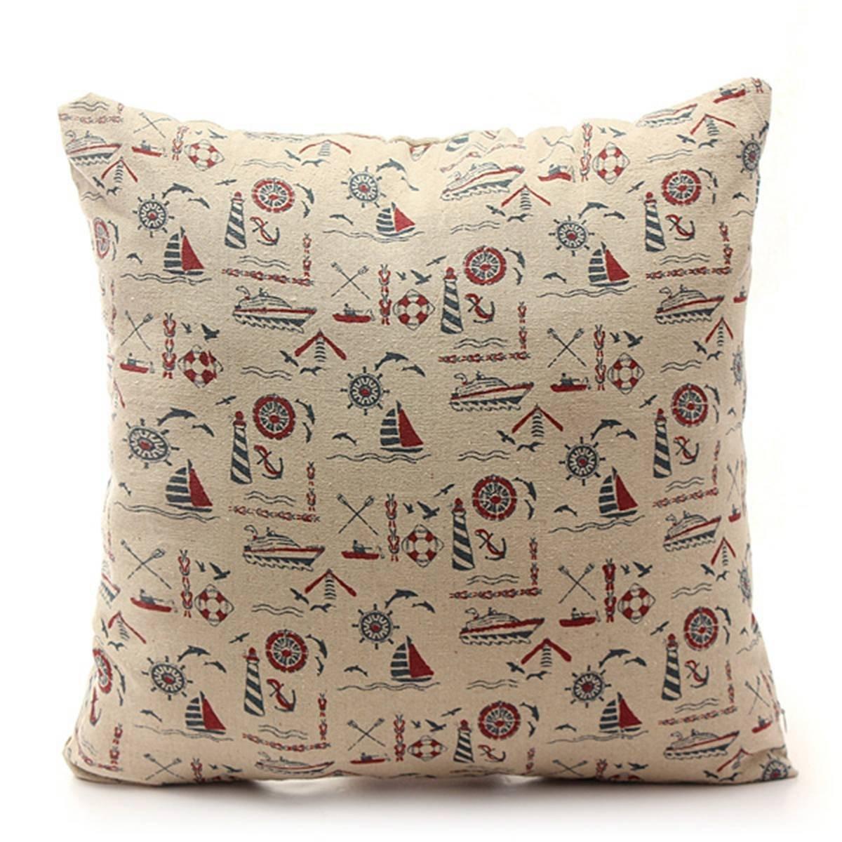 Retro European Cotton Linen Cushion Cover Throw Pillow Case Sofa Car Home Decor 42cmX42cm Nautical Boat Pattern