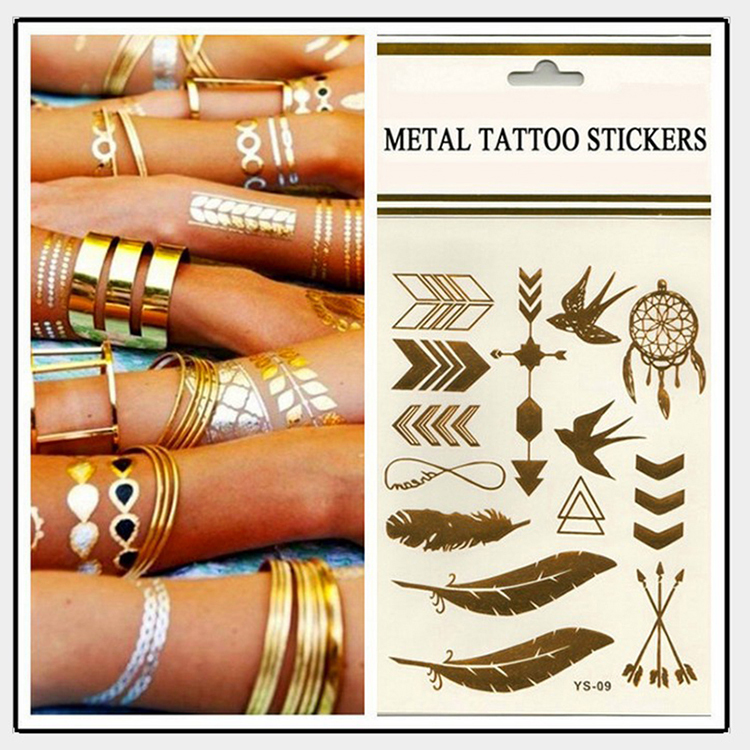 3 pcs body art chain gold tattoo temporary tattoo tatoo for Cost of temporary tattoo