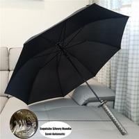 New Arrival Creative Warrior Samurai Long Sword Silvery Handle Rainy Sunny Quailty Umbrella Men Women Windproof
