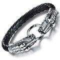 Stainless Steel Brand 2016 Weaved Leather Survival Love Bangles Bracelets Rock Punk Style Men Jewelry Dragon Head Design KS905