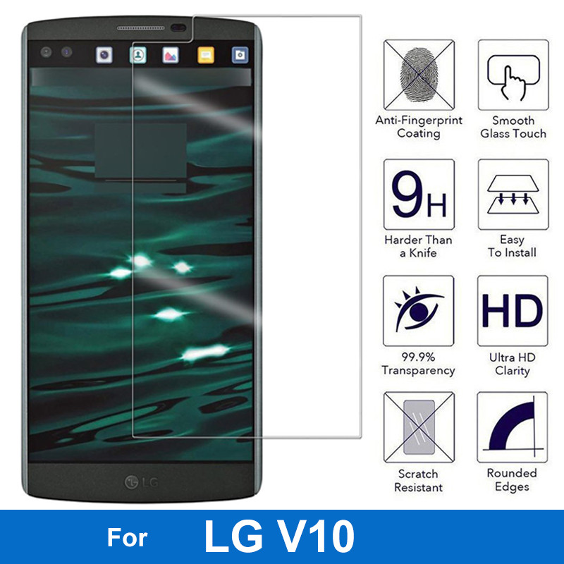 Screen Protector Round Edge 9H Hardness 0.26MM Thickness Tempered Glass For LG V10 H960 H968 H961N Vs990 HPF F600 F600S Dual Sim
