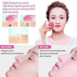 Image 2 - Escova de limpeza facial, elétrica, de silicone, massageador sônico, recarregável, usb, ultra sônica, limpador de rosto, ferramenta de beleza, escova de limpeza facial