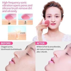Image 2 - brosse nettoyante visage brosse nettoyante visage electrique Brosse de nettoyage du visage en Silicone électrique Massage par Vibration sonique outil de beauté de nettoyage du visage Ultra sonique intelligent