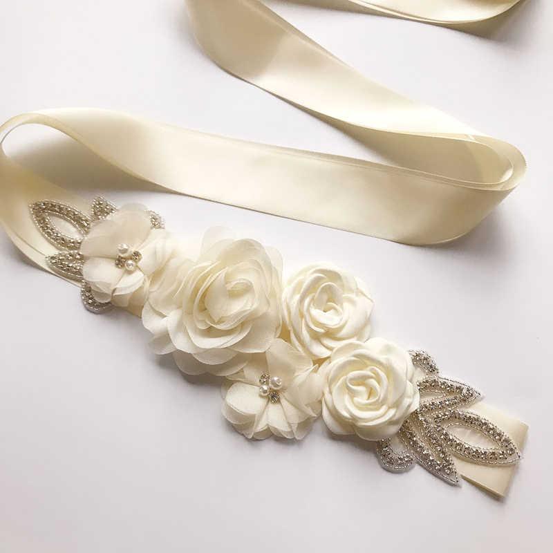 2019 יוקרה חתונה שמלת חגורות רבים צבעים כלה חגורת Rhinestones פרחי כלה אבנט לחתונה קישוט שמלת ערב
