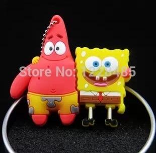 USB stick Bestselling SpongeBob Patrick friends USB 2.0 Flash Drives / pendrive memory stick U disk High speed/ /1GB-64GB S246